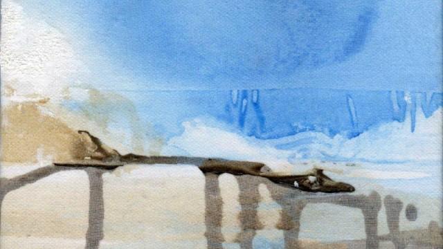 De l'air à pleins poumons, pigments et acrylique sur organdi marouflé sur toile, 20x20 cm, 2011